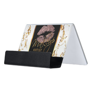 Dusty Rose Glitter Lips on Gold & White Marble Desk Business Card Holder
