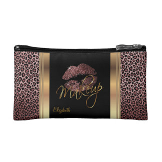 Dusty Rose Gold Glitter Confetti Lips and Leopard Makeup Bags