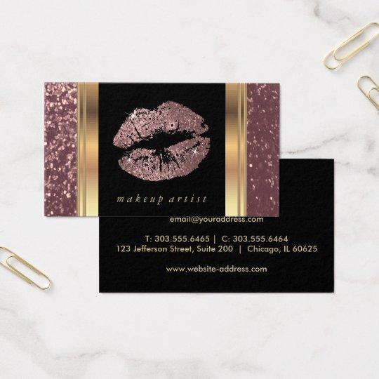 Dusty Rose Gold Glitter Lips and Elegant Gold