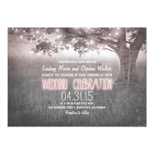 dusty rose grey lights tree wedding invites
