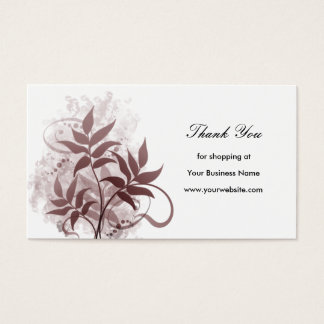 Dusty Rose Leaves - Thank You Business Card