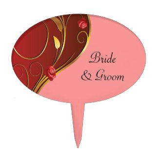 Dusty Rose Pink Golden Swirls Wedding Cake Picks