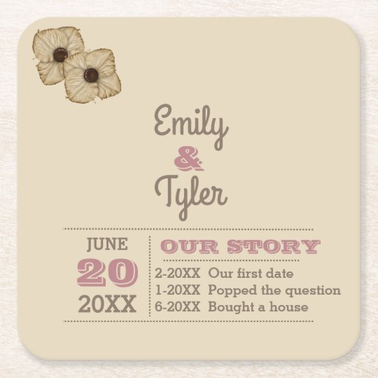 Dusty Rose & Taupe Personalised Wedding Square Paper