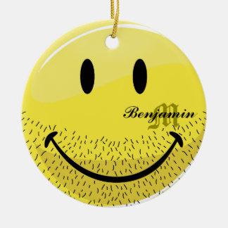 Dusty Ruff Bearded Smiley Face Round Ceramic Decoration