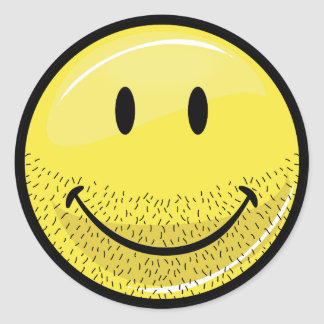 Dusty Ruff Bearded Smiley Face Round Sticker
