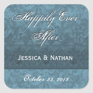 Dusty Teal Blue and Purple Wedding Damask Square Sticker