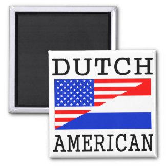 Dutch American Flag Square Magnet