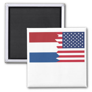 Dutch American Flag Square Magnet