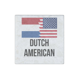 Dutch American Flag Stone Magnet