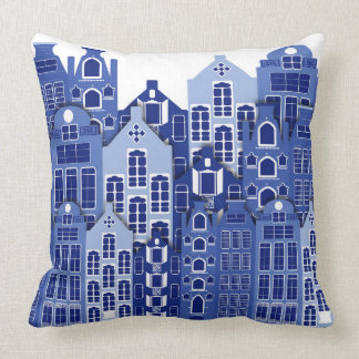 Dutch Amsterdam Blue Houses Throw Pillow