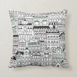 Dutch amsterdam illustration home pattern cushion