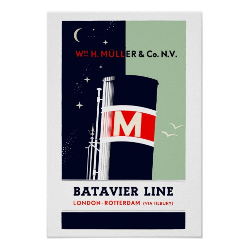 Dutch Batavier shipping line Holland England Poster