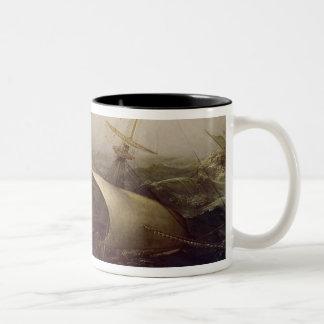 Dutch Battleship in a Storm Two-Tone Coffee Mug