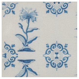 Dutch Blue Flower Tile Fabric