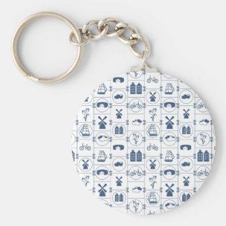 Dutch Blue tiles Basic Round Button Key Ring