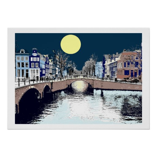 Dutch Bridge Full Moon Poster