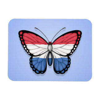Dutch Butterfly Flag on Blue Rectangle Magnet