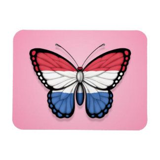 Dutch Butterfly Flag on Pink Magnets