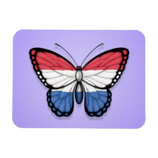 Dutch Butterfly Flag on Purple Rectangular Magnet