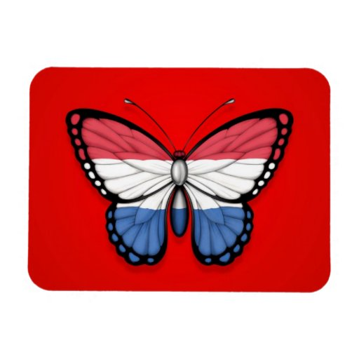 Dutch Butterfly Flag on Red Rectangle Magnets