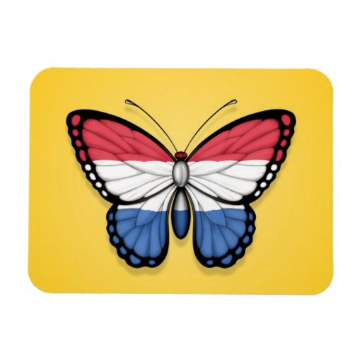 Dutch Butterfly Flag on Yellow Magnets