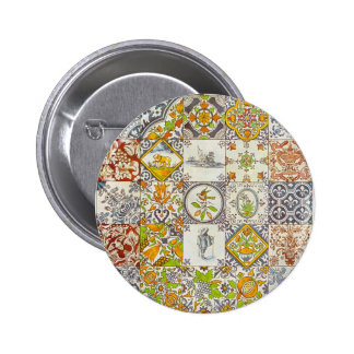 Dutch Ceramic Tiles Pinback Buttons
