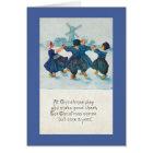 Dutch Christmas Children Dancing, Customisable Card