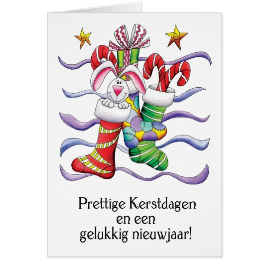 Dutch - Christmas Stocking With Rabbit And Gifts