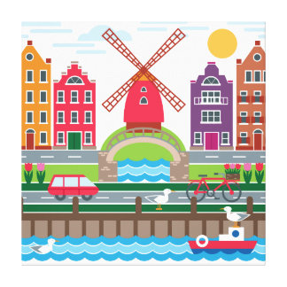 Dutch City Colorful Illustration Gallery Wrapped Canvas