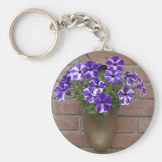 Dutch Clog with Purple Blue White Violet on Wall Basic Round Button Key Ring