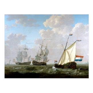 Dutch East India Company Ships by Jacob van Strij Postcard