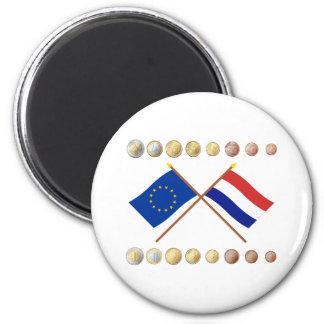 Dutch Euros and EU & Netherlands Flags 6 Cm Round Magnet