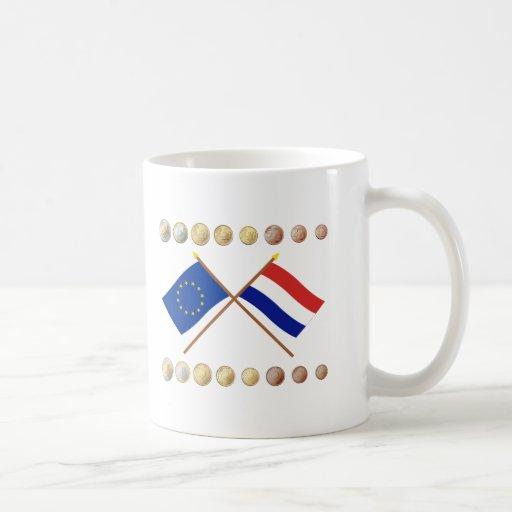 Dutch Euros and EU & Netherlands Flags Coffee Mug