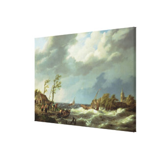 Dutch Fishing Vessel Caught on a Lee Shore with Vi Canvas Print