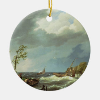 Dutch Fishing Vessel Caught on a Lee Shore with Vi Christmas Ornament