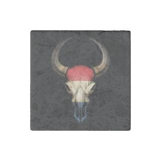 Dutch Flag Bull Skull Stone Magnet