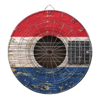 Dutch Flag on Old Acoustic Guitar Dartboard