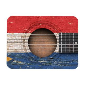 Dutch Flag on Old Acoustic Guitar Rectangular Magnets