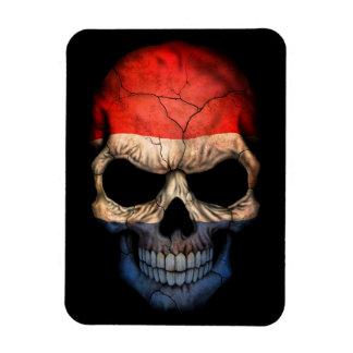 Dutch Flag Skull on Black Flexible Magnet