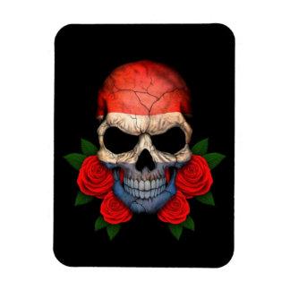 Dutch Flag Skull with Red Roses Rectangular Magnet