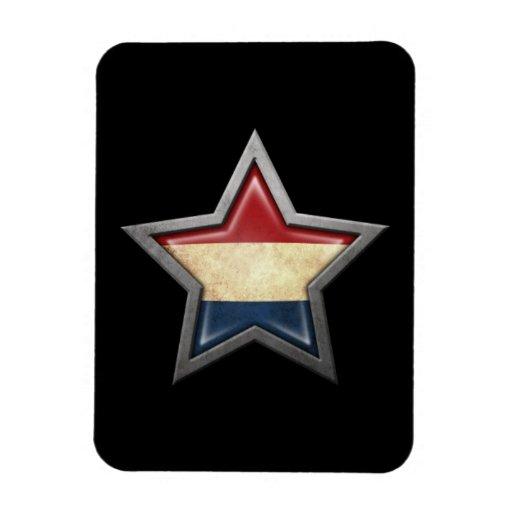 Dutch Flag Star on Black Flexible Magnets