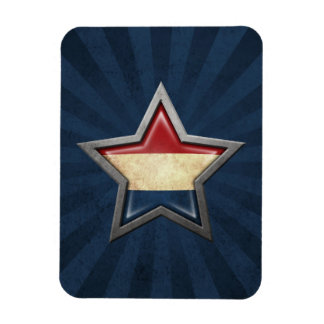 Dutch Flag Star with Rays of Light Flexible Magnet