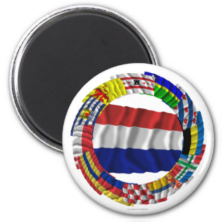 Dutch Flags Ring 6 Cm Round Magnet