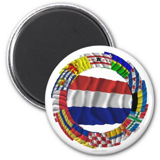 Dutch Flags Ring Fridge Magnets
