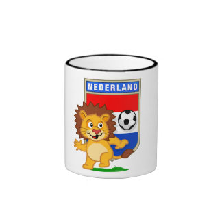Dutch Football Lion Ringer Coffee Mug
