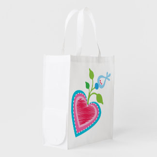 Dutch Garden Heart Reusable Grocery Bag