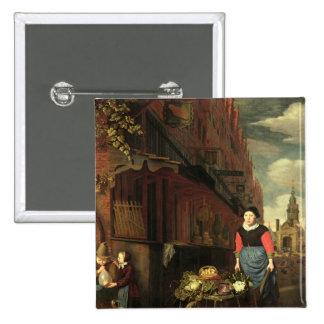 Dutch Genre Scene, 1668 15 Cm Square Badge