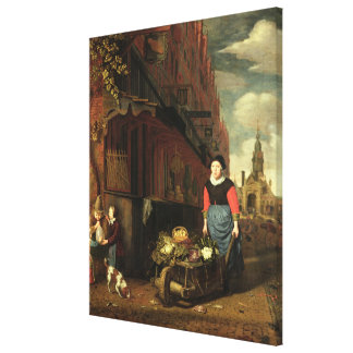 Dutch Genre Scene, 1668 Canvas Print