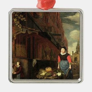 Dutch Genre Scene, 1668 Silver-Colored Square Decoration