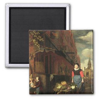 Dutch Genre Scene, 1668 Square Magnet